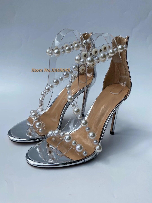 اللؤلؤ ديكور جديد وصول الصنادل المفتوحة تو الكاحل حزام الظهر سستة Stiletto رقيقة عالية الكعب أحذية جولة تو الفضة فستان أحذية