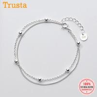 Женский двухслойный браслет из серебра 100% пробы, 16 см