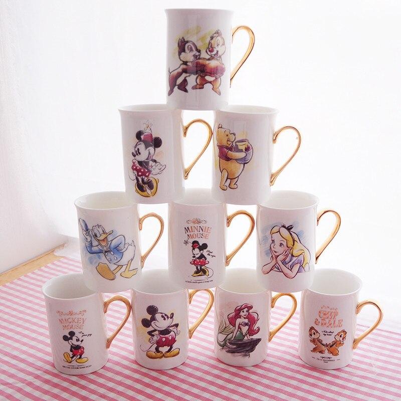 Taza de agua Minnie de Disney de Mickey de 300ml, jarra de cerámica para café o té, tazas de colección para la Oficina y el hogar, regalos para estudiantes y festivales