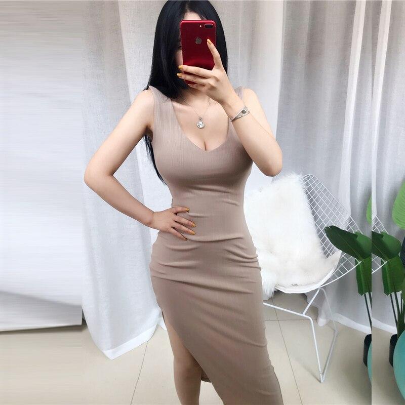 Joelho-comprimento vestido de malha elástico sem mangas bodycon elegante feminino 2020 verão sexy u-neck botão festa dividir vestidos finos