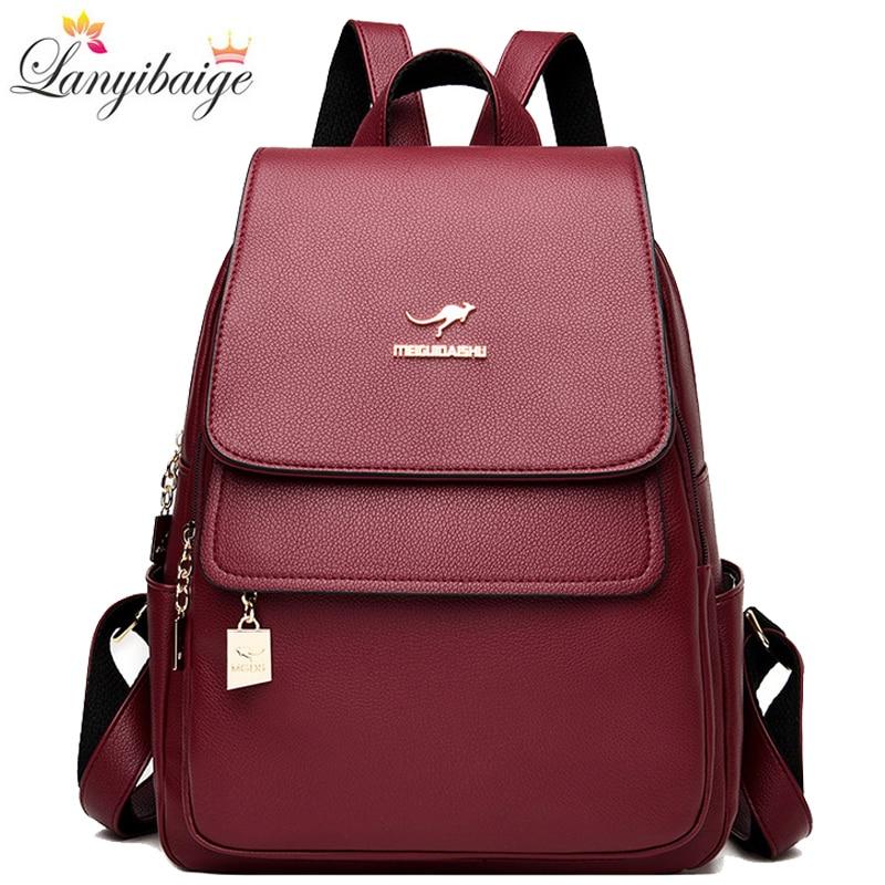 حقيبة ظهر نسائية من جلد البولي يوريثان ، حقيبة مدرسية ذات سعة كبيرة ، حقيبة سفر ، 2021