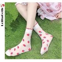 lolitagoth japanese cute socks thin tube socks lolita kawaii crystal ice silk cute strawberry lace white solid color ladies sock