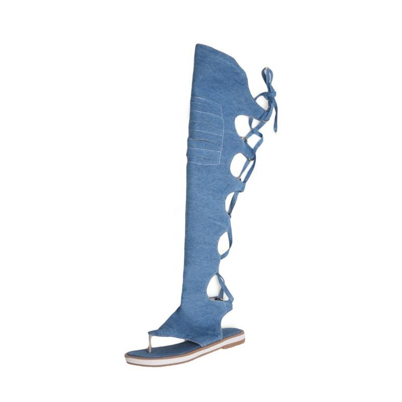 Sandals women summer flat sandals casual Roman gladiator fashion knee high boots beach for