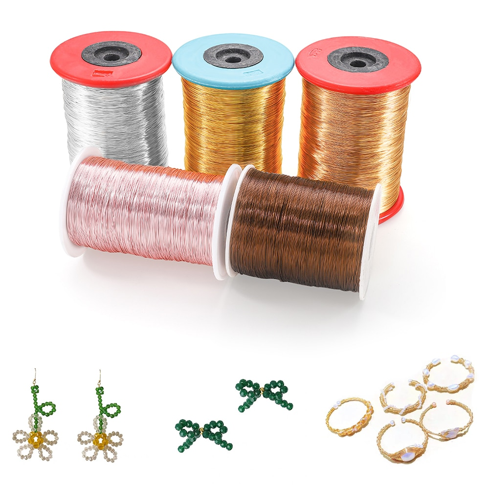 6Colors 1kg/Roll 0.2-1mm Solid Crod Accessories String Colorfast Copper Wire Beading for Jewelry Making DIY Earrings Bracelet