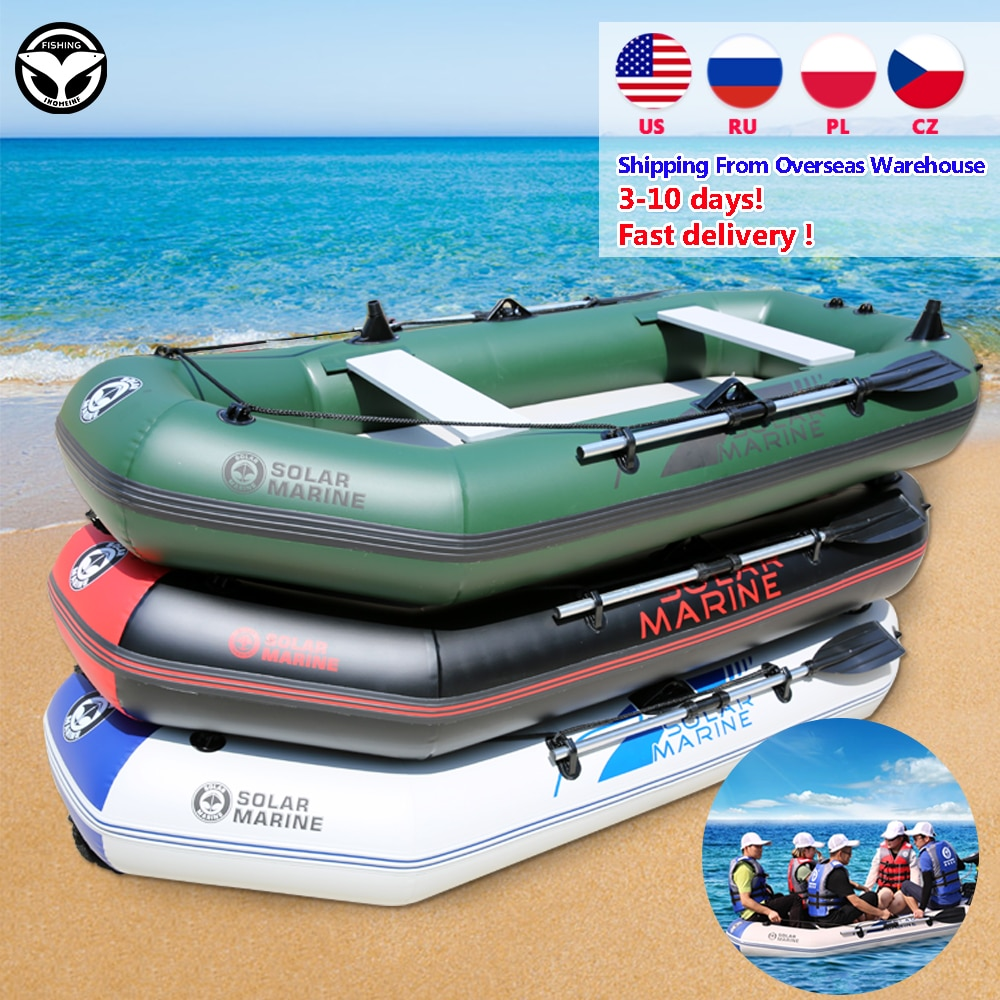 175-260cm 1-5 Person Inflatables Boat 0.7mm PVC Material Inflatable Laminated Wear-Resistant Fishing Boat With Oars Pump Rowting