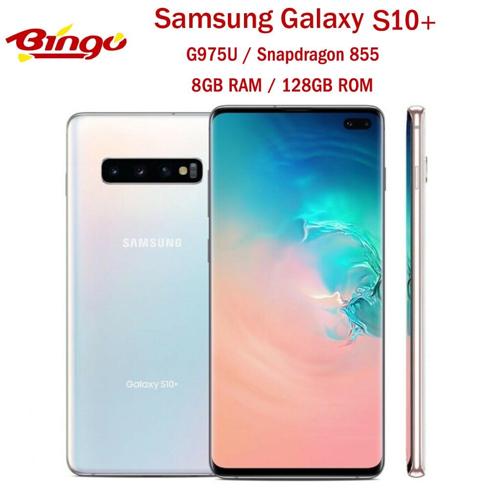 "Samsung galaxy s10 + s10 plus g975u 128 gb desbloqueado telefone móvel snapdragon 855 octa núcleo 6.4 ""16mp & duplo 12mp 8 gb & 128 gb rom nfc"