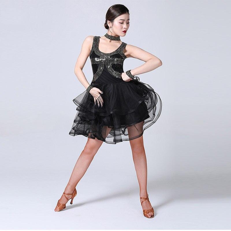 Vestido de baile latino, falda de manga corta para mujer, vestidos de baile de salón Tango, ropa para mujer, ropa de práctica Latina