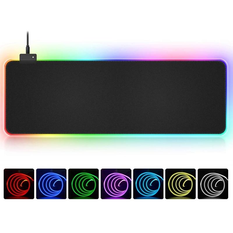 RGB мягкий большой игровой коврик для мыши негабаритный светящийся светодиодный расширенный коврик для мыши нескользящая резиновая основа ...