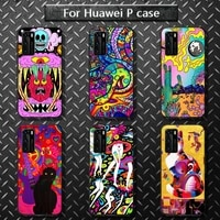 colourful psychedelic trippy art phone case for huawei p40 pro lite p8 p9 p10 p20 p30 psmart 2019 2017 2018