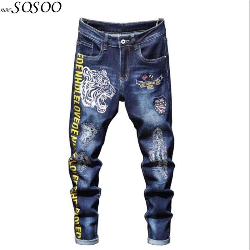 Nuevos pantalones vaqueros para hombre 100% algodón clásico Tigre bordado mendigo pantalones vaqueros Cool de alta calidad moda hombres Jeans envío gratis #2031