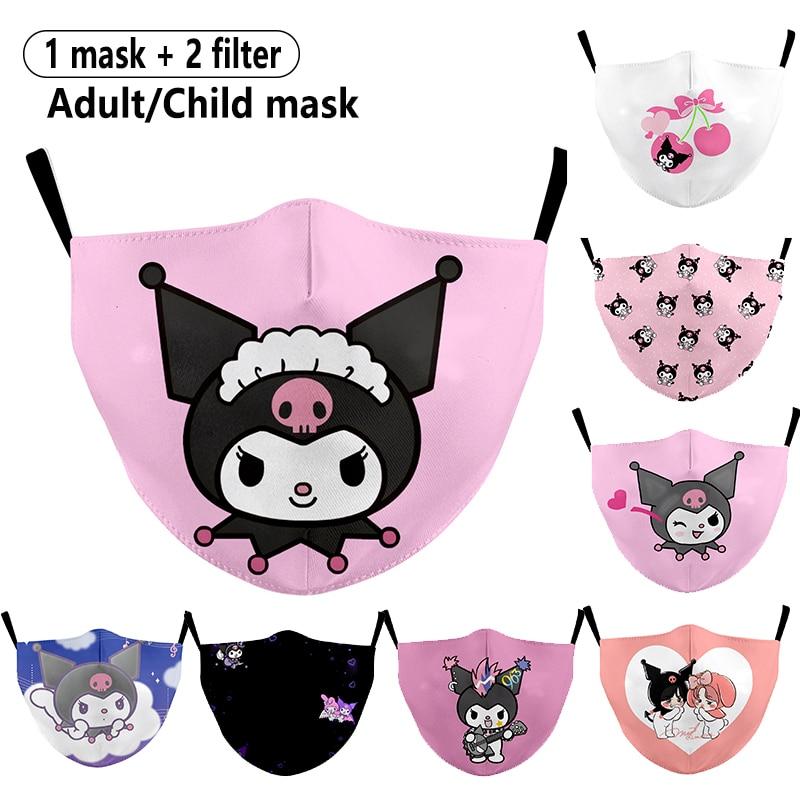 Adulto criança reutilizável dos desenhos animados kuromi impresso respirável máscaras faciais à prova de poeira máscara de boca lavável máscaras de tecido máscara facial