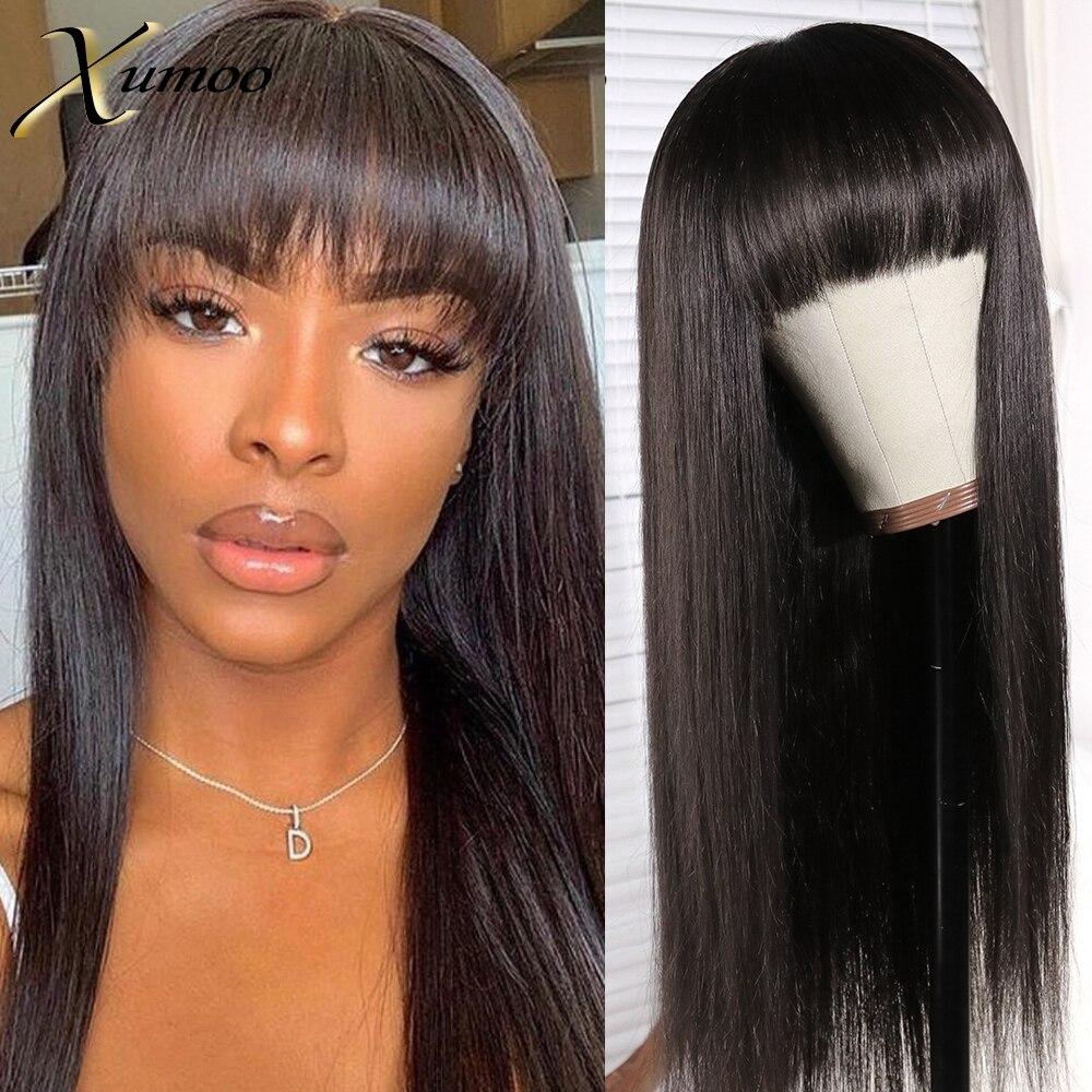 Недорогие бразильские человеческие волосы без повреждений, натуральные черные прямые человеческие волосы, парик с челкой, парик полностью ...
