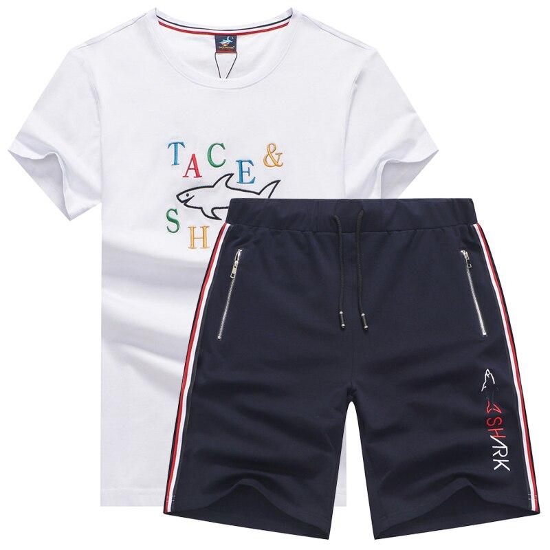 Chándal de verano 2020, conjuntos de dos piezas para hombres, chándales para marido Tace marca Shark, camisetas para hombres, pantalones cortos jogger, conjuntos de 2 uds, ropa deportiva