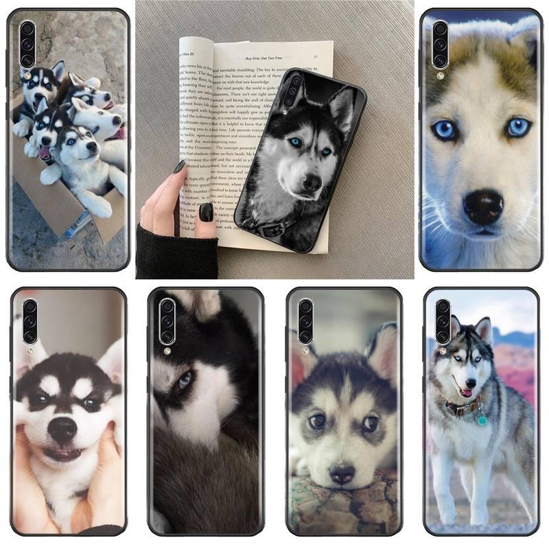 Funda Husky de silicona negra para teléfono de perro mascota bonito animal para Samsung Galaxy A 3 6 7 8 10 21 01 11 31 91 10S 20S 30S 50S PLUS