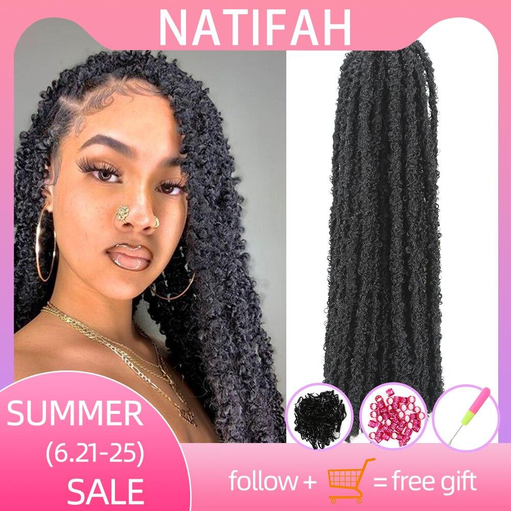 Natifah trança cabelo encaracolado cabelo crochê extensões de cabelo sintético borboleta locs afro macio kinky torção 20 Polegada 70g pré-torcido