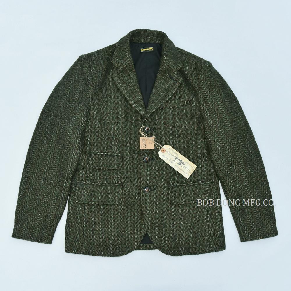 تويد بوب دونغ سترة معطف خمر البلد مخطط الصوف معطف رياضي للرجال