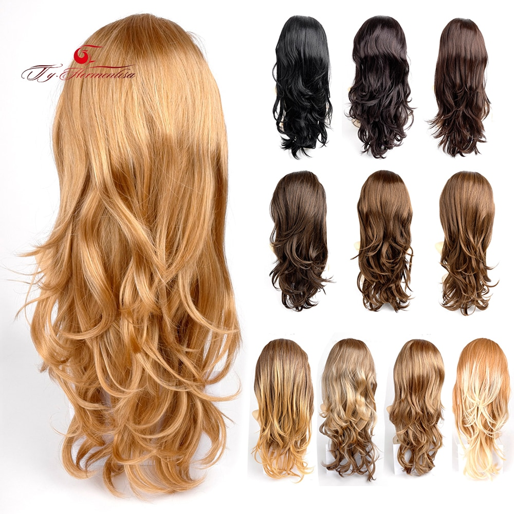 Ty.Hermenlisa 1PC 3/4 Head Wig  For Women Clip in Synthetic Hair Extensions with Comb On a Mesh Head Cap Clip in Hair Extension