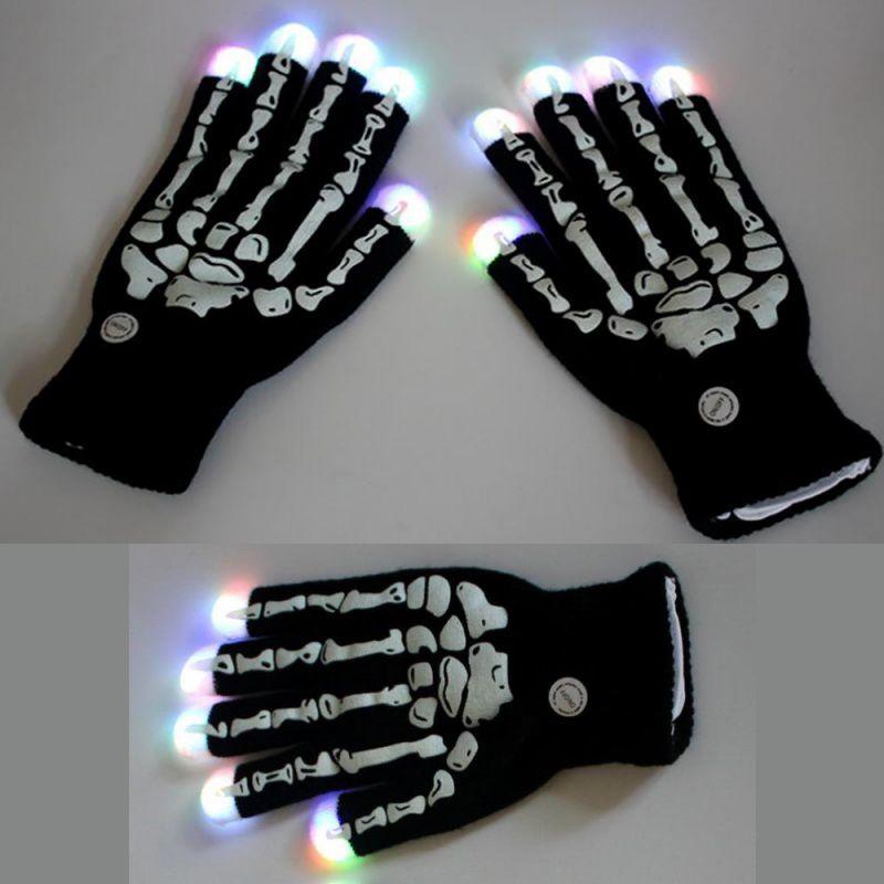 Guantes LED brillante Horrible esqueleto dedo hueso garra de fantasma juguete de miedo impreso Halloween fiesta Bar accesorios de disfraces nuevo