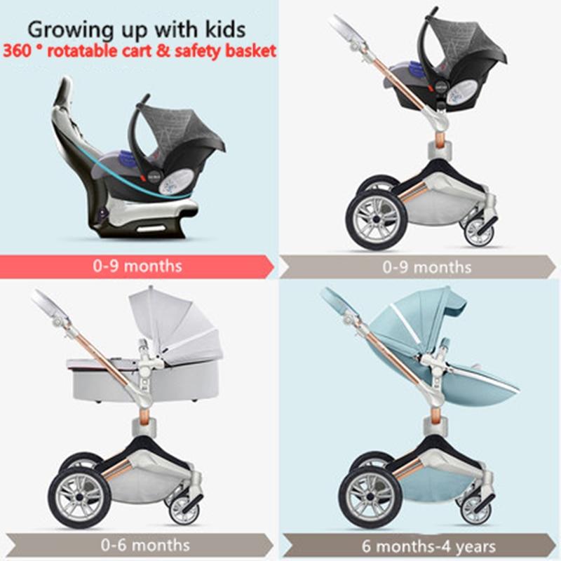 Baby Pram 4 In 1 Luxury Baby Stroller High View HotMom  Aluminum Frame Leather CE Standard enlarge