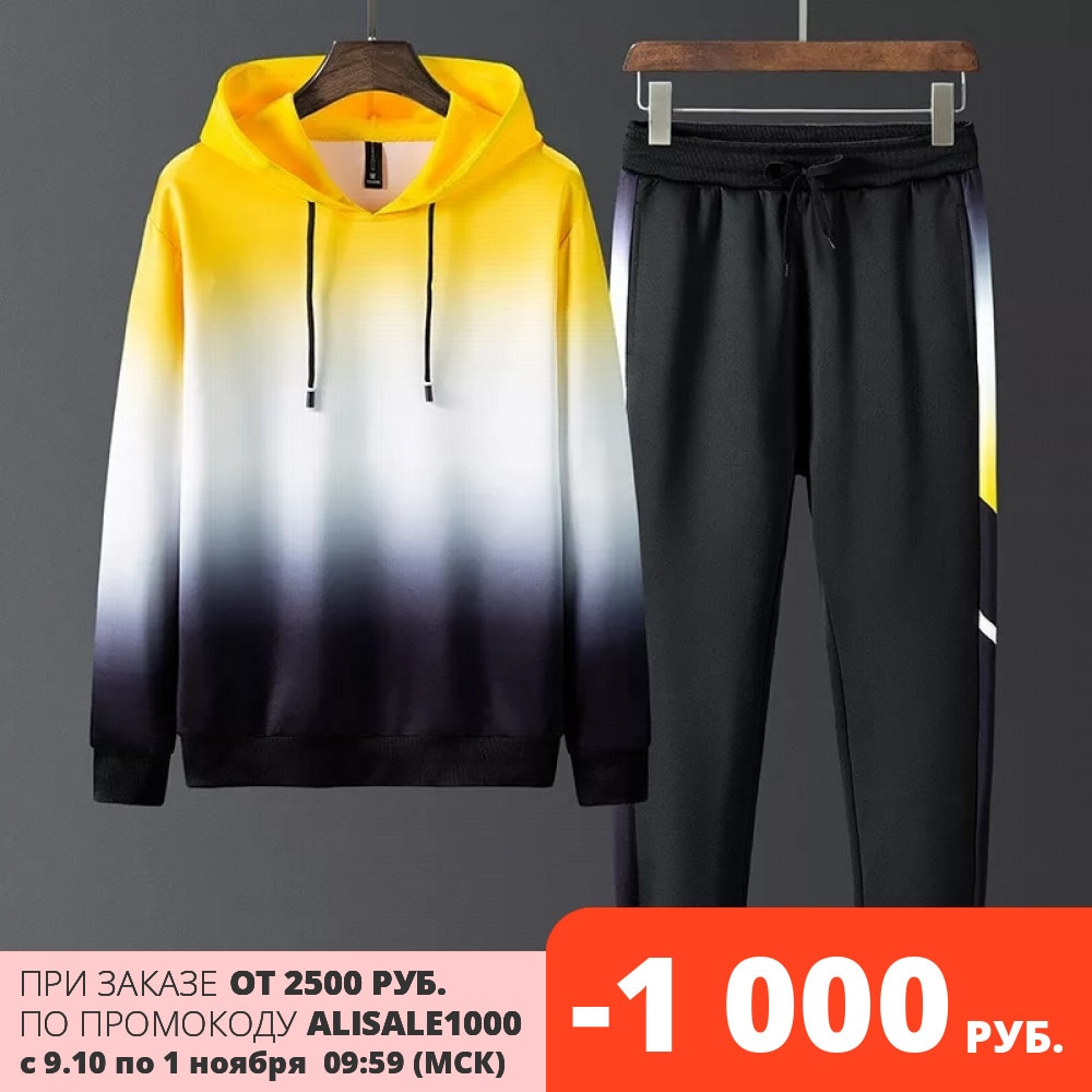 Новинка 2021, мужской костюм, мужской повседневный спортивный костюм с градиентом, трендовый свитер, спортивная одежда, мужская одежда | Мужская одежда | АлиЭкспресс