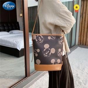 Disney Mickey Handbag Women Shoulder Crossbody Bag PU Leather Bucket Bag Waterproof Lady Storage High capacity Shopping Bag