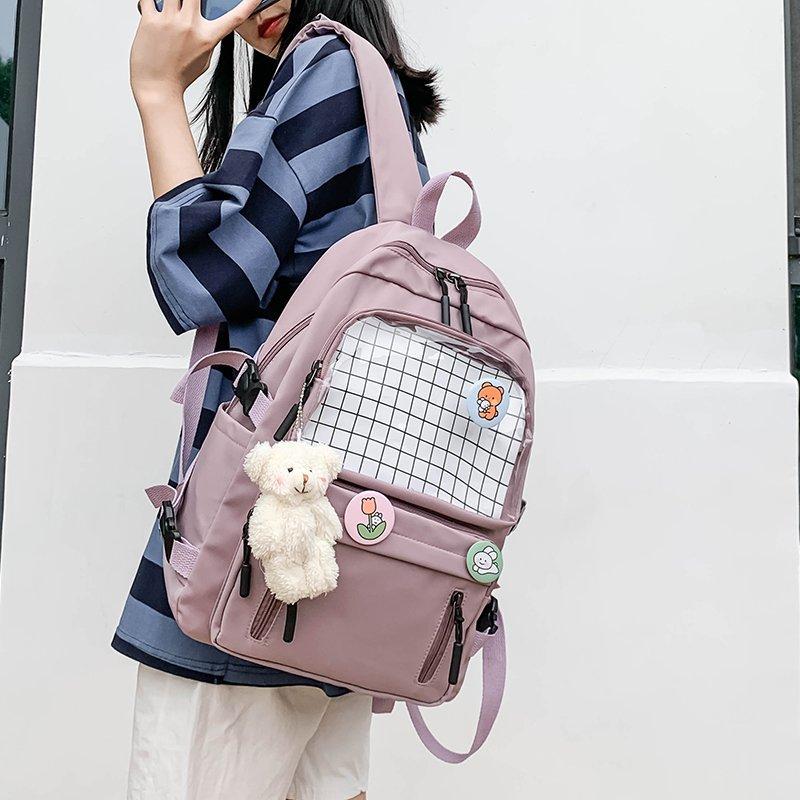 Женские прозрачные рюкзаки в стиле преппи для девочек-подростков, сумки для школьников, женские водонепроницаемые дорожные рюкзаки Kawaii