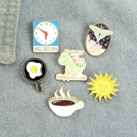 creative cartoon alarm clock pin dinosaur shape paint badge accessories brooch fashion cute shirt lapel bag jewelry for friends