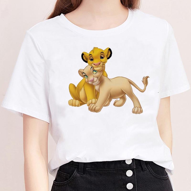 Simba Nala estampado gráfico camiseta Harajuku camisa de manga corta blanca moda de verano Mujer Streetwear Casual camisetas de cuello redondo