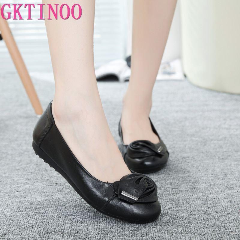 GKTINOO 2020 Neue Frauen schuhe Aus Echtem Leder Schuhe Slip-on frauen arbeiten schuhe frauen Wohnungen Komfort frau Schuhe Mokassins plus größe