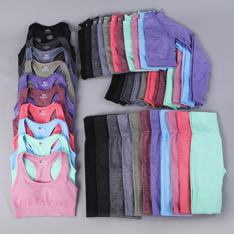 7 colores gimnasio sin costuras Yoga Set Fitness deporte trajes gimnasio ropa Top corto camisetas alta cintura Running Leggings Pantalones