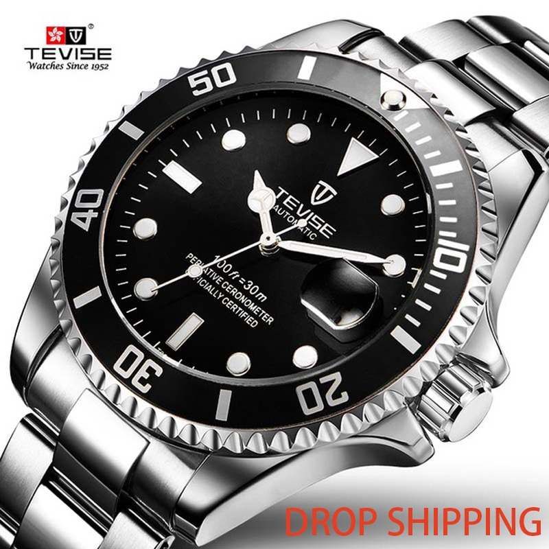 Drop Shipping Hot Sell Tevise Brand Men Mechanical Watch Automatic Fashion Luxury Stainless Steel Ma