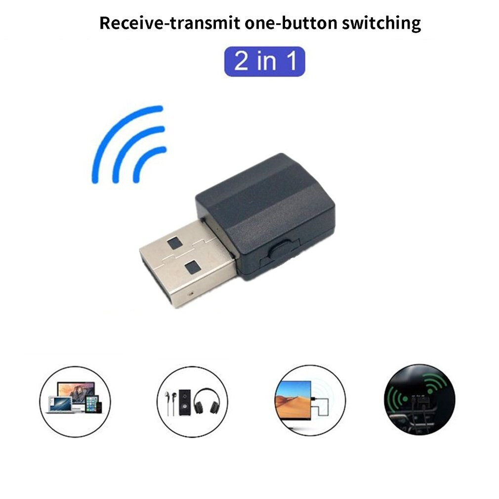 2in1 BT 5,0 transmisor receptor de Audio adaptador inalámbrico Mini Transmisor estéreo auxiliar de 3,5mm para TV PC altavoz de coche