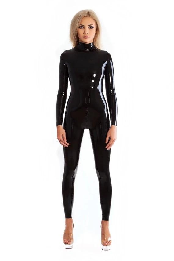 اللاتكس Catsuit أسود اللون المطاط Zentai دعوى الرقبة دخول روبر ارتداءها مع المنشعب البريدي عالية الجودة المرأة Catsuit