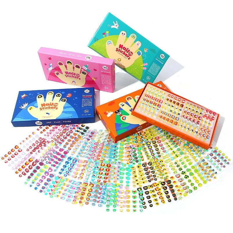 Juego de pegatinas para uñas para niños, juguete DIY de maquillaje de dibujos animados de princesa, juguete impermeable de belleza de seguridad, bonito juego de simulación, regalos de juego para niñas