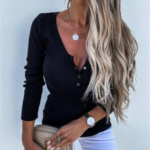 Autumn Fashion Women Solid Pullover T-Shirts New Elegant V-neck Buttons Tops Spring Office Lady Casual Slim Long Sleeve Blouses