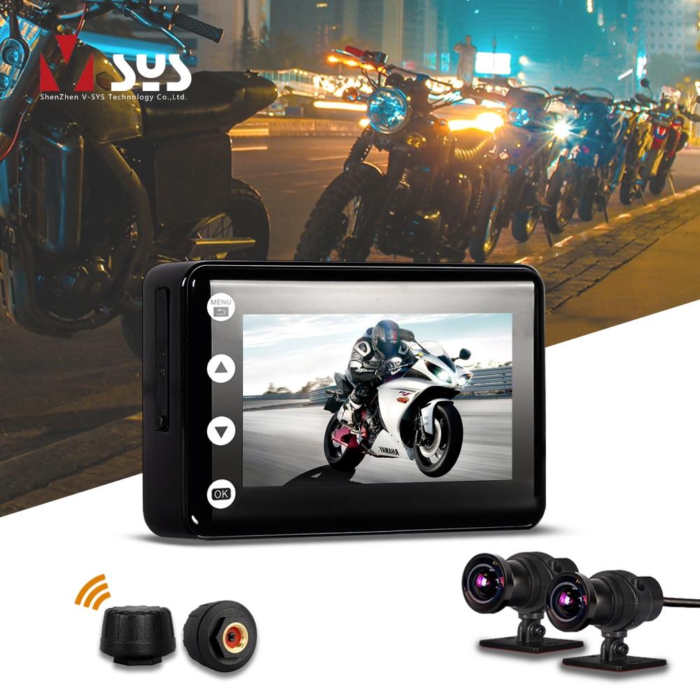 VSYS F2 sistema de cámara de motocicleta WiFi DVR con Smart Gauge (TPMS/odómetro) Dual SONY IMX307 visión nocturna cámara de salpicadero impermeable