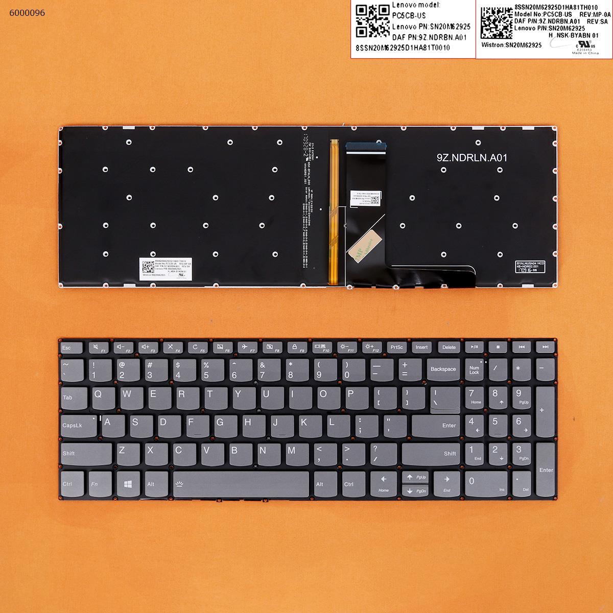 US QWERTY New Replacement Keyboard for Lenovo Ideapad 320-17IKB 320-17ISK 320-17AST 320-17ABR Laptop Gray with Backlit NO Frame