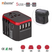 Универсальный адаптер питания Rdxone, универсальное зарядное устройство с 5 USB-портами по всему миру для Великобритании/ЕС/США/Азии