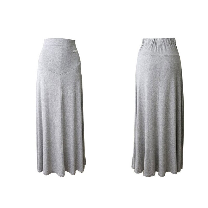 Maternity Skirts Midi Women Cotton Pregnancy Mid Dress Grey Office Casual Elastic Waist Pregnant Clothing Lady Bottoms Homewear