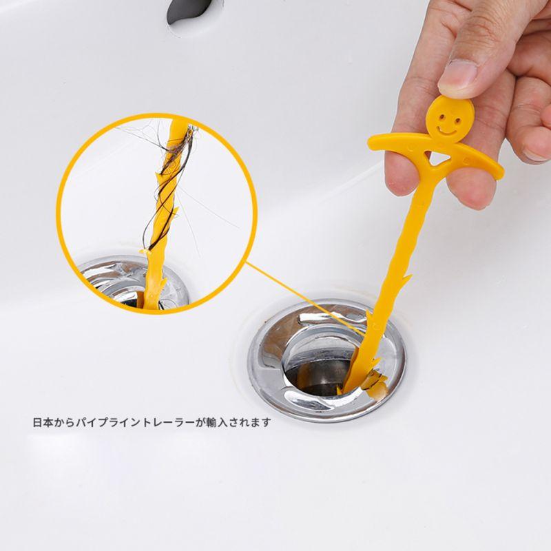 Tubo de cocina en forma de U gancho de dragado fregadero limpiador de drenaje gancho para el cabello herramienta de limpieza de tubo para lavabo bañera inodoro tubo en espiral