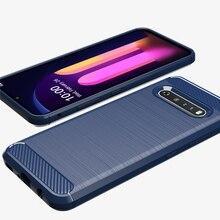 Étui en Silicone pour LG V60 ThinQ 5G K51S étuis en Fiber de carbone brosse Surface couverture en TPU pour LG K51 V30 V40 V50 Q60 Q70 Q51 étui choc prooof
