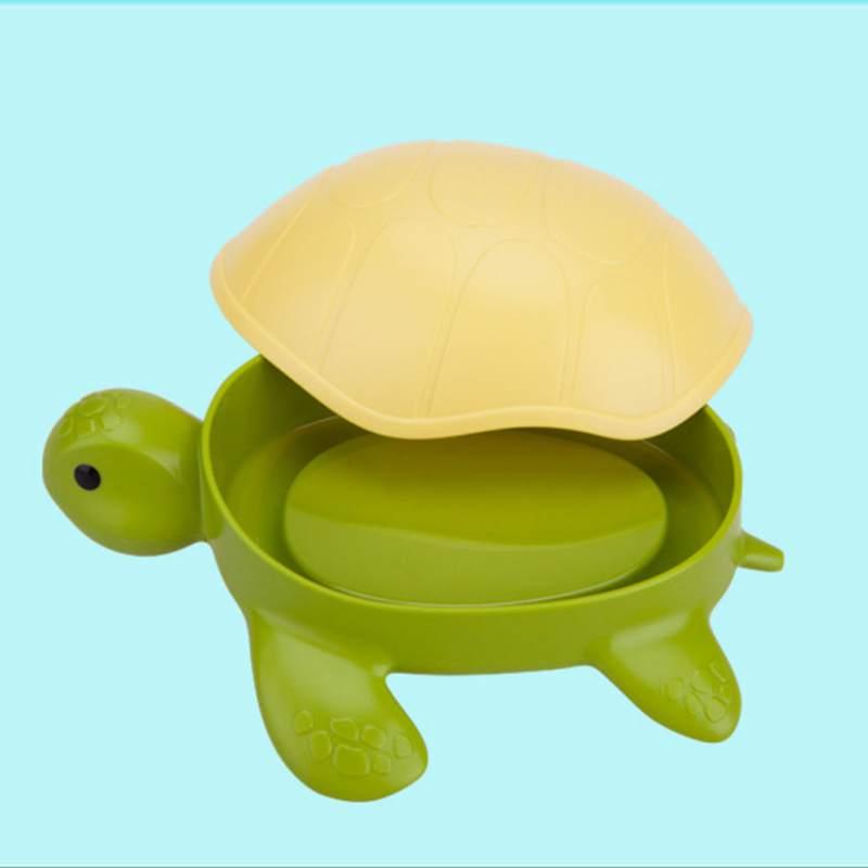 Divertido jabón tortuga niños contenedor titular caja de jabón tapa regalo para baño para platos con dispensador de almacenamiento organizador de cocina