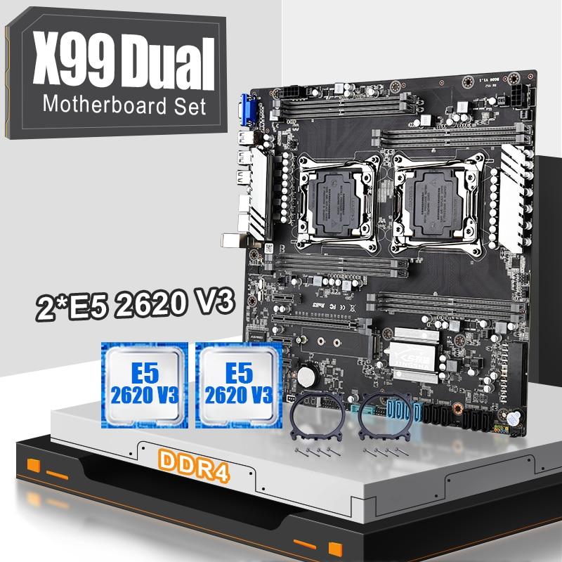 JINGSHA X99 المزدوج اللوحة مجموعة LGA 2011-3 مع 2 قطعة XEON E5 2620V3 ستة النواة المعالج دعم ماكس 2400MHz 8-قناة V4 وحدة المعالجة المركزية