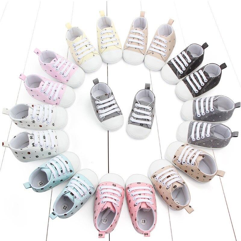 Neugeborenes Baby Schuhe Erste Wanderer Frühling Herbst Baby Boy Weiche Sohle Schuhe Infant Leinwand Krippe Schuhe 0-18 monate