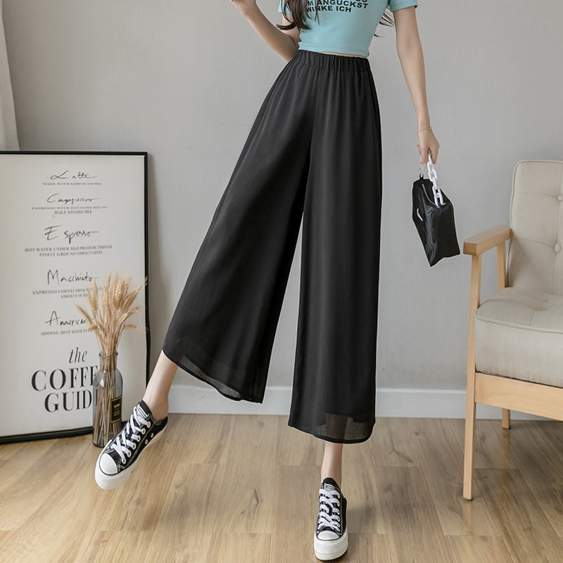 #2131 Double Layer Chiffon Pants Women Ankle-length Casual Wide Leg Pants Female Thin High Waisted Straight Trousers Black White
