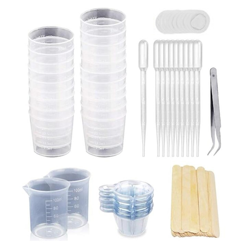 1 Set Resin Mixing Cups+Epoxy Mixing Cup and Sticks+100ml Measuring Cups+2oz Graduated Cups+50pcs Disposable Cups