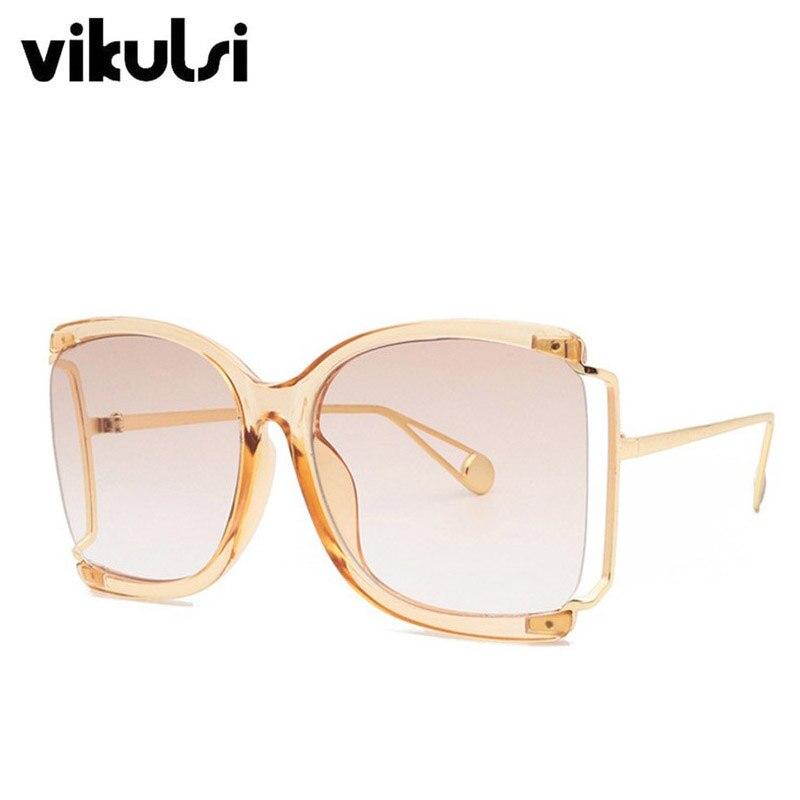 Metade do quadro óculos de sol oversized feminino 2020 luxo quadrado óculos de sol feminino moda vintage verão praia tons gradiente óculos