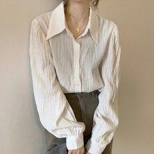 Autumn/winter Wrinkled Texture Shirt Female Design Sense of Minority 2021 New Medium and Long Sleeve