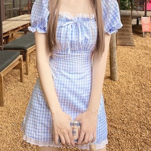 Summer dress Square Collar Girl Wind Bud Bubble Sleeves Blue Chequered Dresses Short skirt with slim