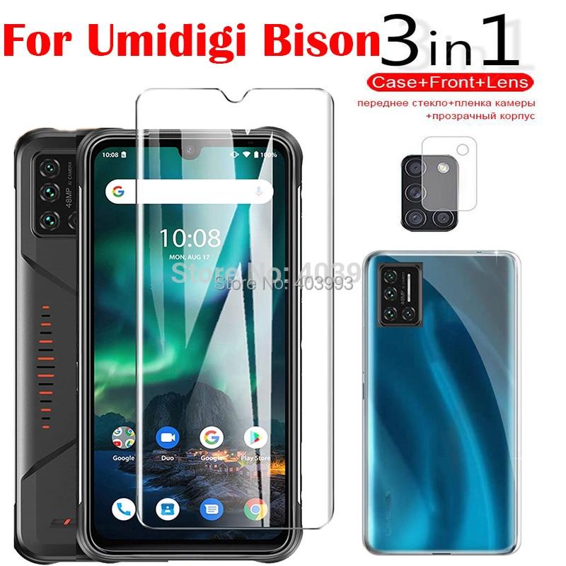 For UMIDIGI Bison 6.3 inch Case 3 In1 Tempered Glass Shockproof Armor Case Camera Screen Protector P